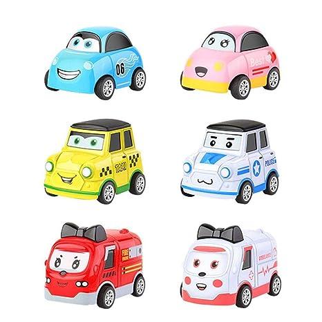 6 minimodelos de coches de carreras para niños, juguete mecánico, coche de juguete en