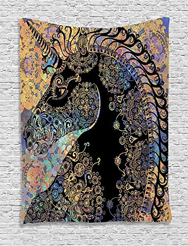 OUR WINGS Unicorn Tapestry Fairytale Unicorn Profile with Ethnic Circular Mandala and Flower Boho Motif Artwork Wall Hanging for Bedroom Living Room Dorm 5990 Inches Multi