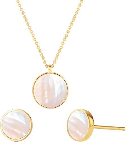 Clover Mother of Pearl Pendant Necklace Women Girls Jewelry 14K Rose Gold Plated