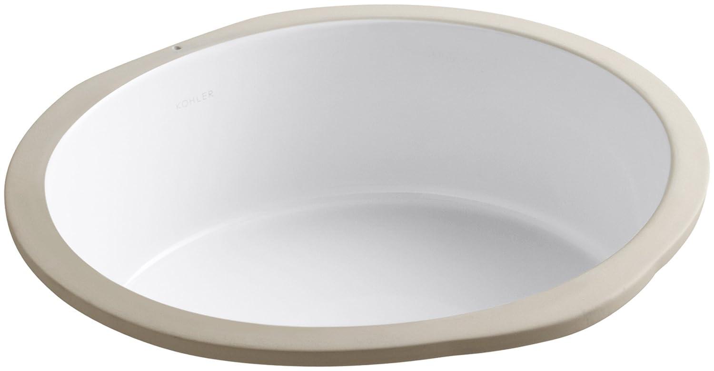 KOHLER K-2883-0 Verticyl Round Undercounter Bathroom Sink, White ...