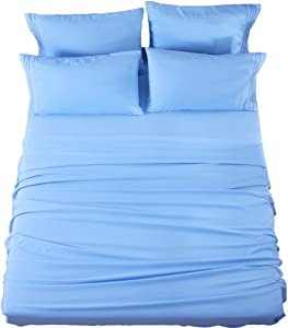 SONORO KATE Bed Sheets Set Sheets Microfiber Super Soft 1800 Thread Count Luxury Egyptian Sheets 16-Inch Deep Pocket Wrinkle Fade and Hypoallergenic - 6 Piece (Full, Lake Blue)