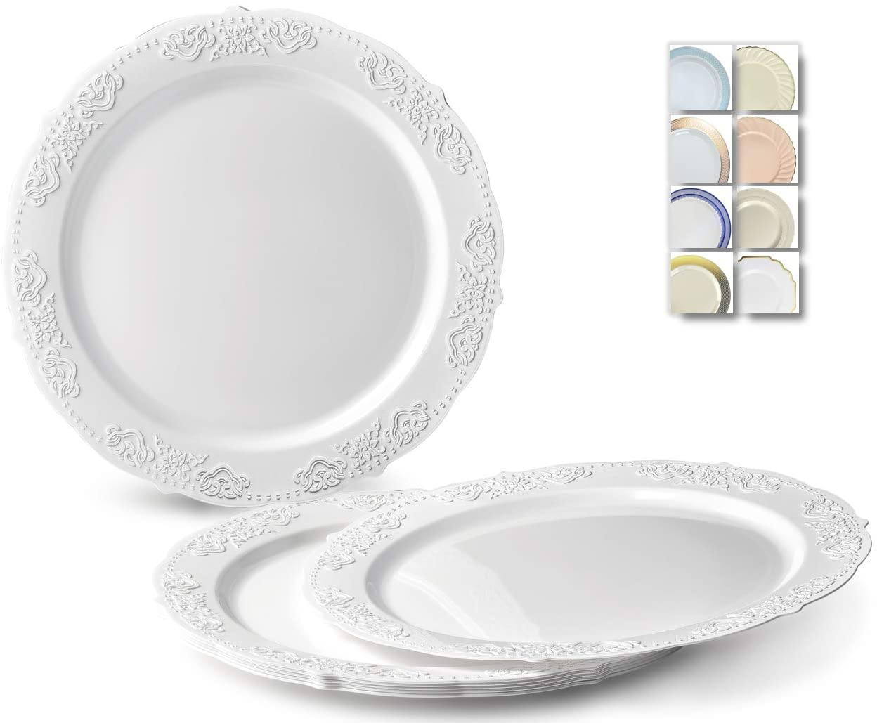 OCCASIONS 120 Plates Pack, Vintage Style, Disposable Wedding Party Plastic Plates (10.25'' Dinner Plate, Portofino Plain White) 61-YccRjs6L