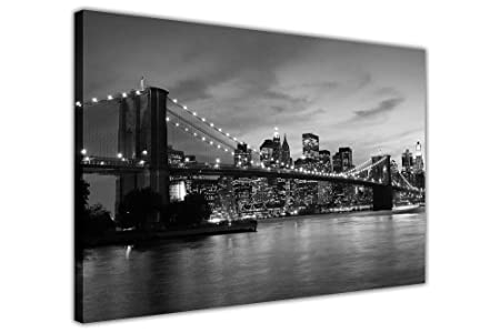 Black and white canvas wall art prints new york city bridge pictures room decoration poster print