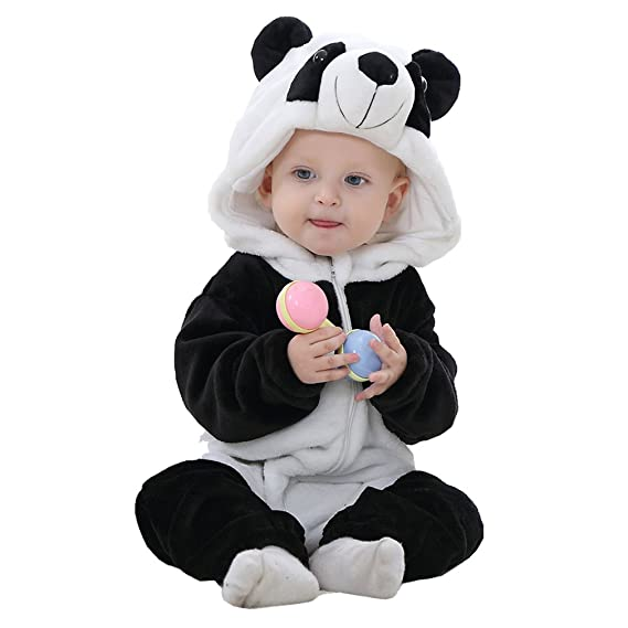 Idgirl Unisex-baby Winter Flannel Romper Panda Outfits Suit (100CM (13-18months), panda)