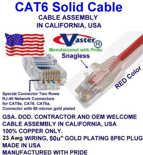 UL CMR 23AWG RED UTP Cat.6 Ethernet Patch Cable Made in USA Super E cable SKU-81977 80 FT