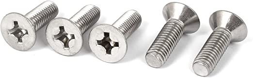 uxcell M8x25mm Machine Screws Pan Phillips Cross Head Screw 304 Stainless Steel Fasteners Bolts 10Pcs