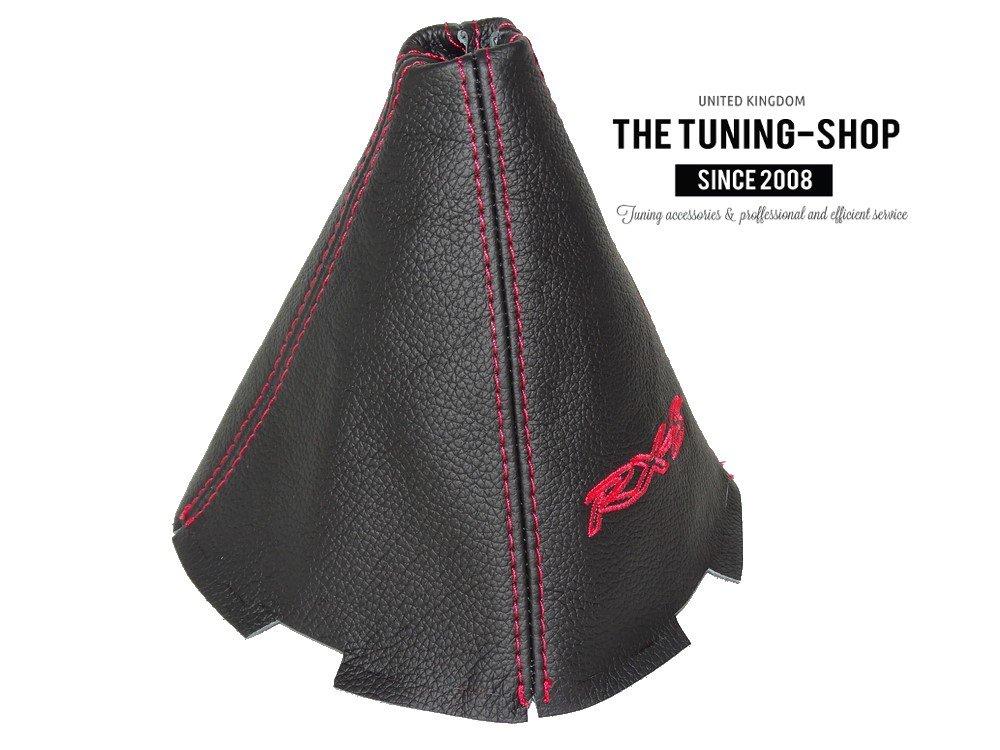 Cuffia leva cambio cuoio nero rosso rx-8/ricamo 4/pannelli
