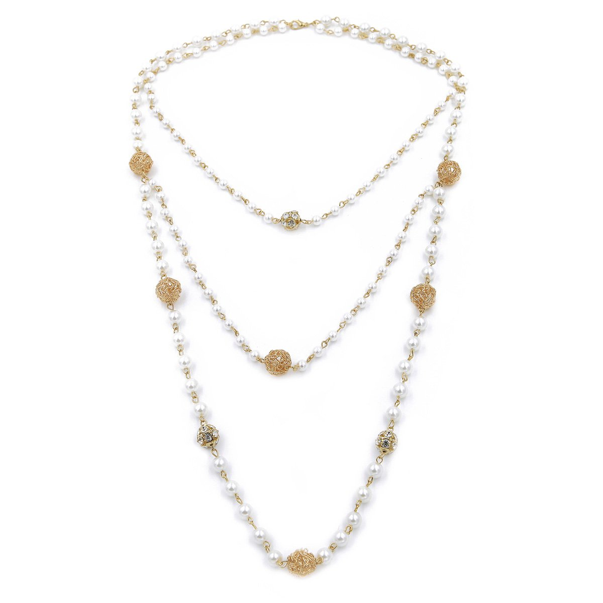 Elegant Gold Tone Simulated White Pearl & Rhinestone Long Layered Necklace TrendsBlue NC144