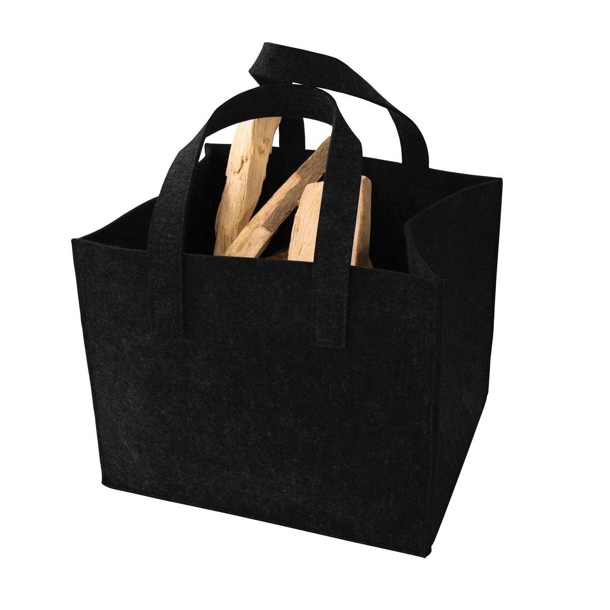 Negro le/ña Cesta chimenea madera cesta rectangular Chimenea Madera Funda multiusos cesta para le/ña funda de fieltro para le/ña revistero para madera
