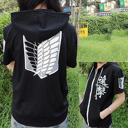 Hot Attack on Titan Shingeki no Kyojin Cosplay Hoodie Coat Sweater Short Sleeve (Black, XL) by -