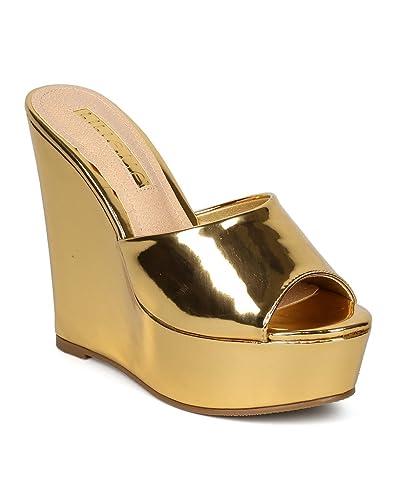 LILIANA Anneka Slingback Wedge Platform Sandal eDhJ4