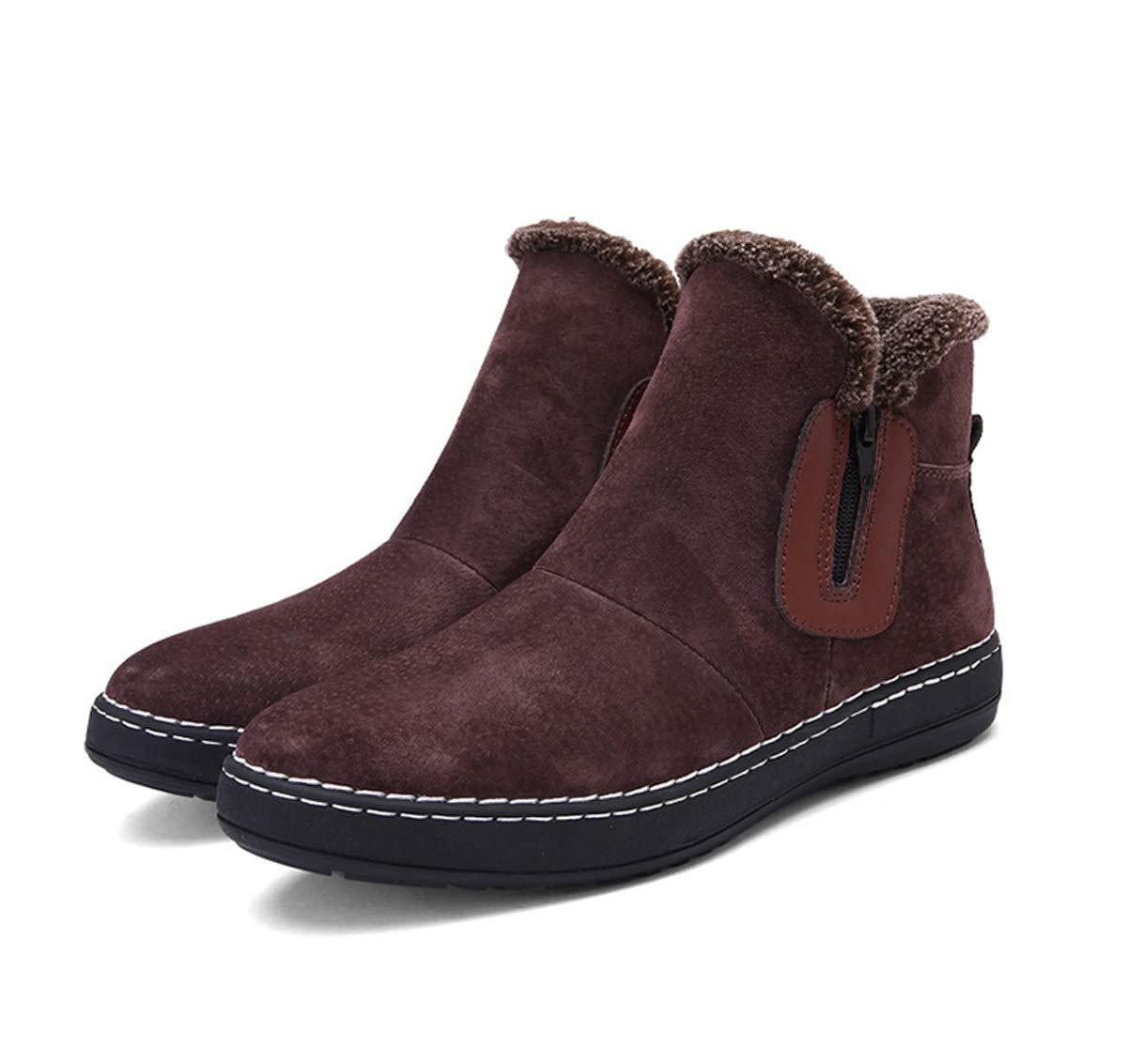 Adong Mens Stiefel Walking Stiefel Men Slipper Stiefel Faux Fur Water Resistant schuhe Suede Slip on Stiefel,braun,43EU