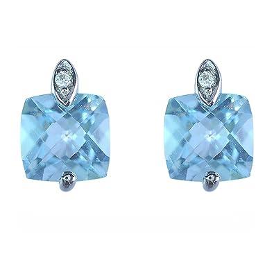 fdbec59c5 Ivy Gems 9ct White Gold Sky Blue Topaz And Diamond Cushion Cut Stud Earrings:  Amazon.co.uk: Jewellery