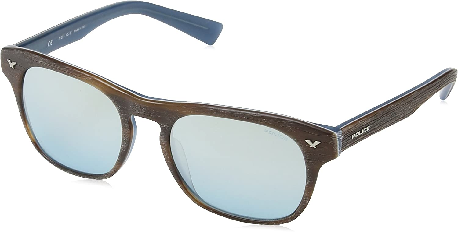 Police Montures de Lunettes Mixte Brown Wood Effect & & Matt Blue Frame / Blue / Silver Mirror Lens
