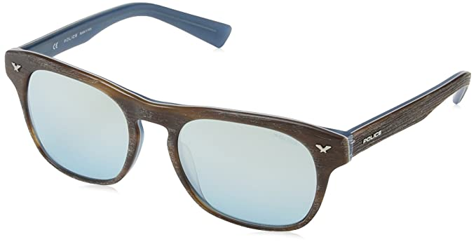 Police - Gafas de sol Wayfarer S1952 Master 2, BROWN WOOD EFFECT & & MATT