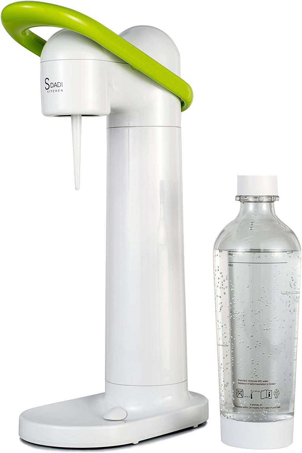 SDADI Sparkling Water and Soda Maker Seltzer Fizzy Drink Maker with 1L Re-usable BPA-free Carbonating Bottle(Without CO2 Cylinder) - White & Green