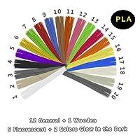 Recharge Bâton Stylo 3D Eco-Filament PLA - VICTORSTAR 20 Couleurs, 200 Mètres (656ft) / Comprendre Couleurs 1 en Bois + 2 Brillent dans le Noir + 5 Fluorescent / Diamètre 1.75mm / Matériel Végétal de Résine et Aucune Odeur de Mieux pour la Santé