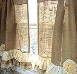 Cheap Burlap Lace Cafe Curtains