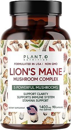 Plant.O Premium Lion's Mane Supplement, All Natural Nootropics Brain Supplement, 5 Mushroom Complex – Lion's Mane, Reishi, Chaga, Maitake, Shiitake for Immunity, Focus, Mood & Memory Boost, 90 Caps