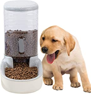 kathson Automatic Replenish Pet Food Feeding Dispenser Station,Easily Clean,Eating Bowl Storage Container Self Feeder Gravity for Dogs, Cats Small Pets Puppy Kitten Rabbit Bunny 1 Gallon