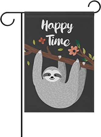 Amazon Com Blueviper Funny Sloth Hanging On The Tree Garden Flag Double Sided 12 X 18 Inch Yard Flags Decorative Small Garden Flags Outdoor Lawn And Garden Décor Garden Outdoor