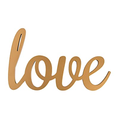 Gold Love Calligraphy Sign (wood) Wedding and Home Decorations: Toys & Games