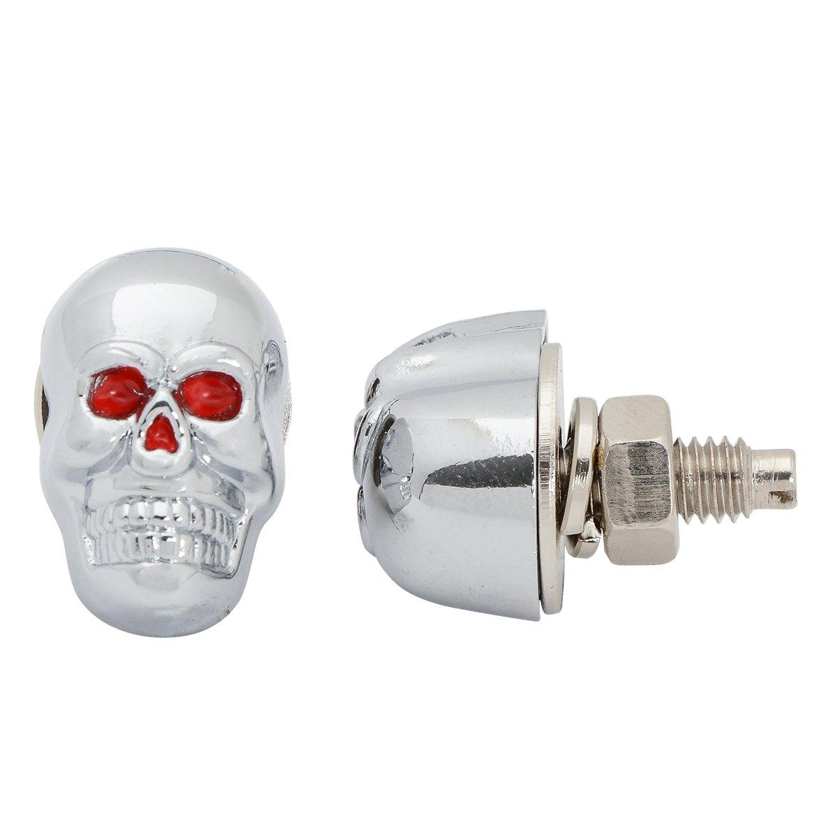Grand General 50550 Chrome Skull License Plate Fastener
