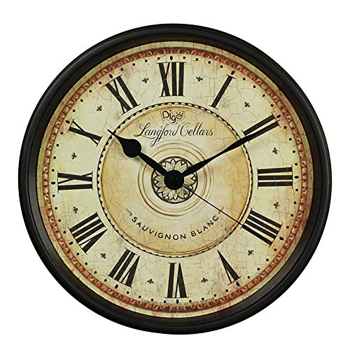 Wall Clock, JUSTUP 12 inch Black Wall Clock European Style Retro Vintage Clock Non - Ticking Whisper Quiet Battery Operated with HD Glass Easy to Read for Indoor decor (Black 12)