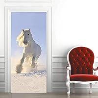 3D Deursticker Wit Paard Zelfklevende Muurschildering Woondecoratie Muurstickers Slaapkamer Woonkamer Verwijderbare…