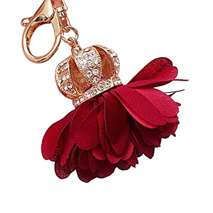 Llavero con diseño de corona de flores de tela, llavero con ...