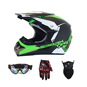 LOLIVEVE Motocicletas Coches De Carreras Cascos De Campo A Través Guantes Gafas Máscaras Y Fantasmas Negros