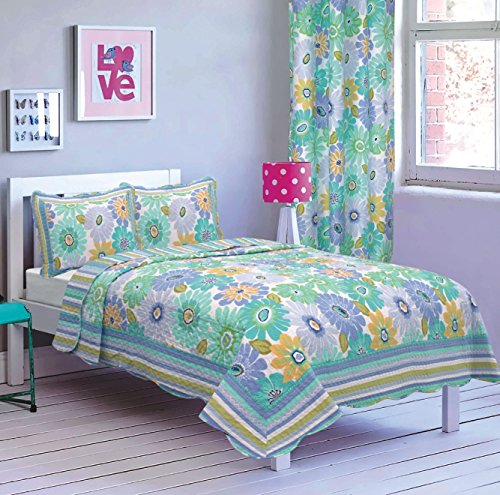 All American Collection New 4pc Flower Printed Bedspread ...
