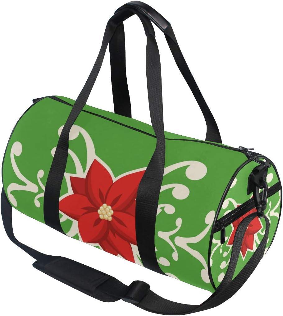 MALPLENA Celebrate Christmas Red Flowers Drum gym duffel bag women Travel Bag