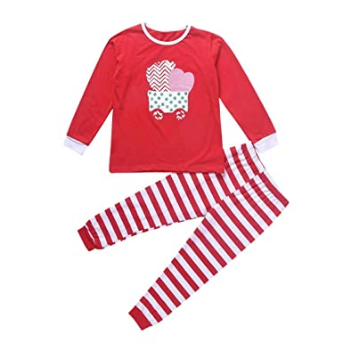 996340d74489 Xshuai for 1-5 Years Old Kids 2Pcs Christmas Newborn Infant Toddler Baby  Girl Boy Stripe Long Sleeve Tops+Pants Trousers Outfit Xmas Clothes Set: ...