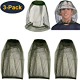 HEYUS [3 Pack] Head Net Mesh Face Neck Protection from Insects Bugs Flies Gnats, Beekeeper Anti-Mosquito Bee Fly Mask Cap Hat Protective Cover Mask for Any Outdoor Lover