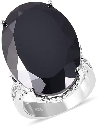 FASCINATING 3 CT OVAL BLACK 925 STERLING SILVER RING SIZE 5-10