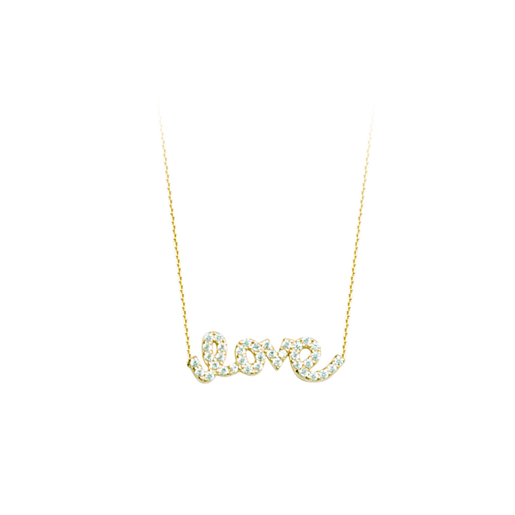 LOVE NECKLACE, 14KT GOLD & CZ LOVE NECKLACE 18'' INCHES