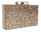 BG-713-G65 Box Clutch Crossbody Hard Case Purse Evening Bag - Glitter Rose Gold
