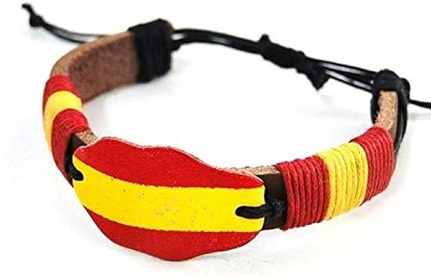 Pulsera de piel, color de bandera de España, española: Amazon.es: Joyería
