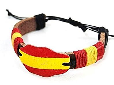 Pulsera de piel, color de bandera de España, española: Amazon.es ...