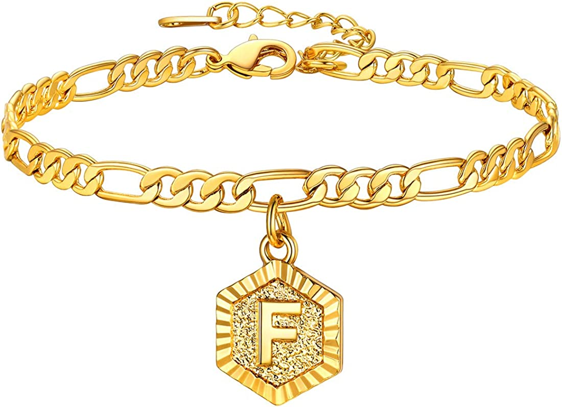 Adjustable 8.5+2,Send Gift Box U7 Gold Anklet for Women 4MM Figaro Ankle Bracelets with Initial Charm 18K Gold Plated Barefeet Chain for Women