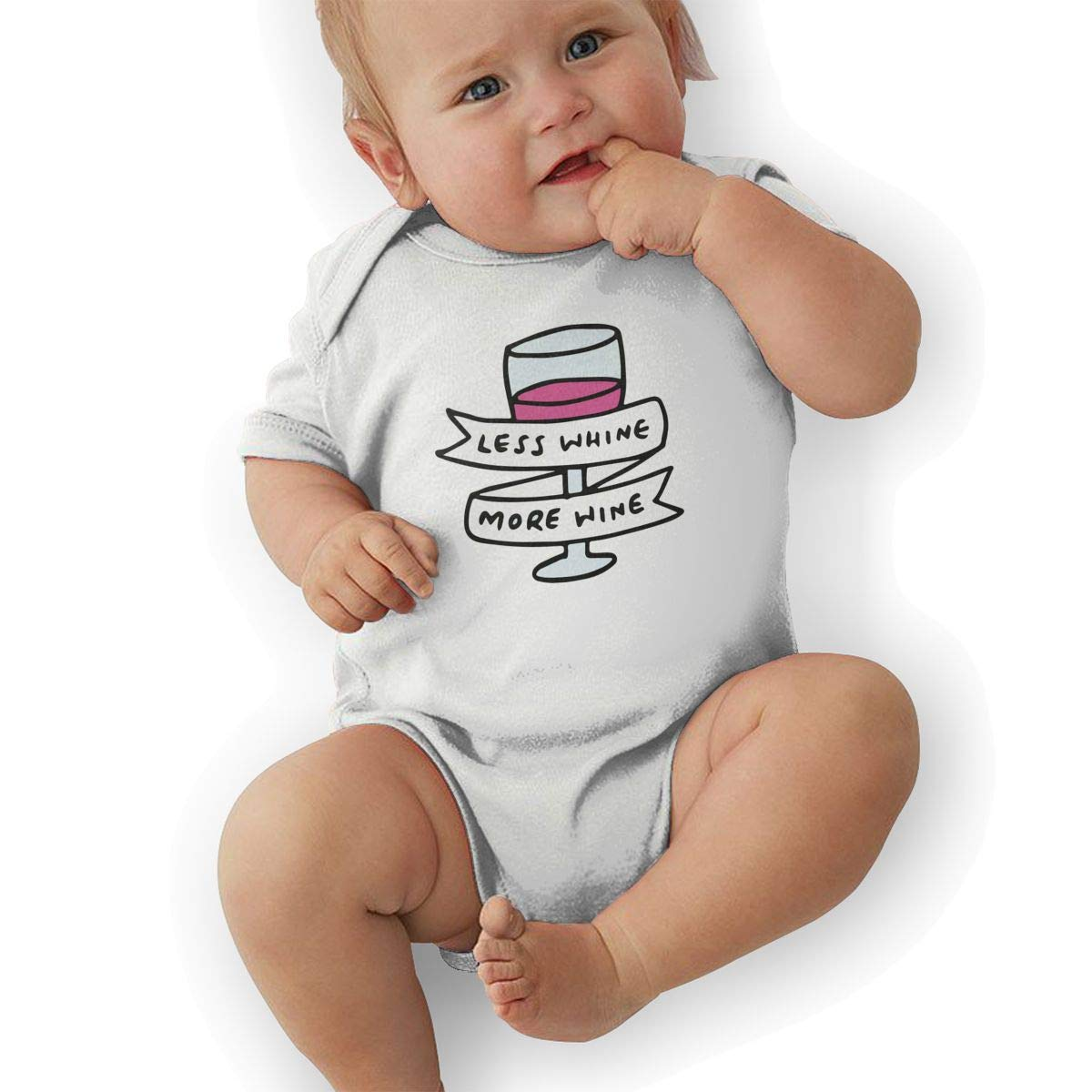Mri-le2 Newborn Baby Short Sleeve Organic Bodysuit Less Whine More Wine 2 Toddler Clothes