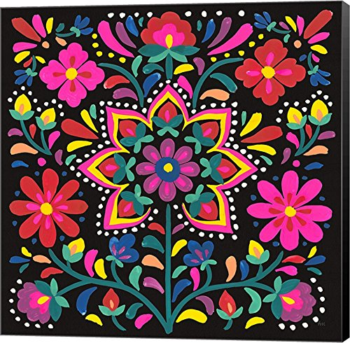 Floral Fiesta III by Laura Marshall Canvas Art Wall Picture, Museum Wrapped with Black Sides, 12 x 12 inches