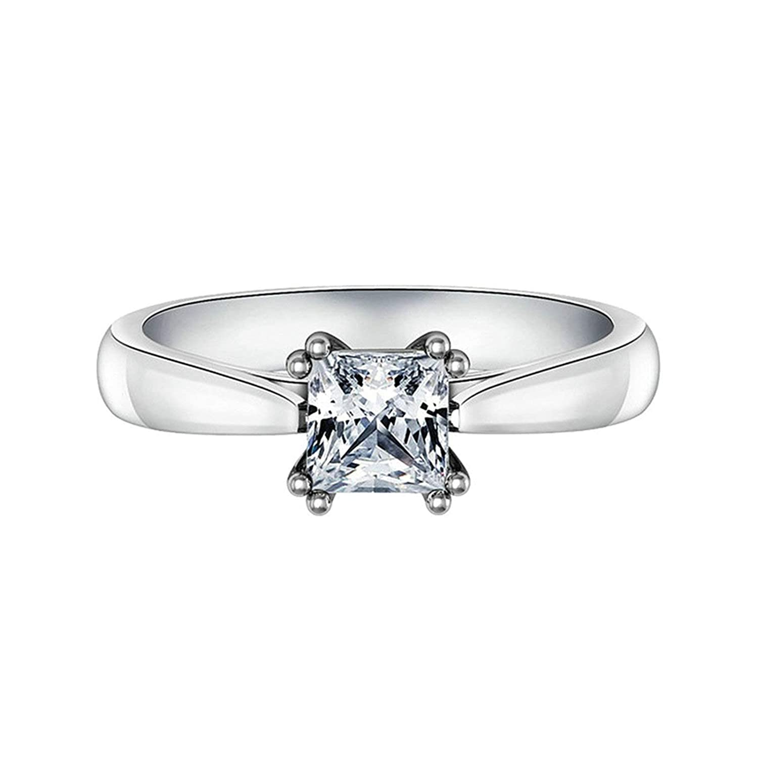 e5d47976fd17f Aooaz Jewelry Wedding Ring Silver Material 4 Claw Square Ring for ...