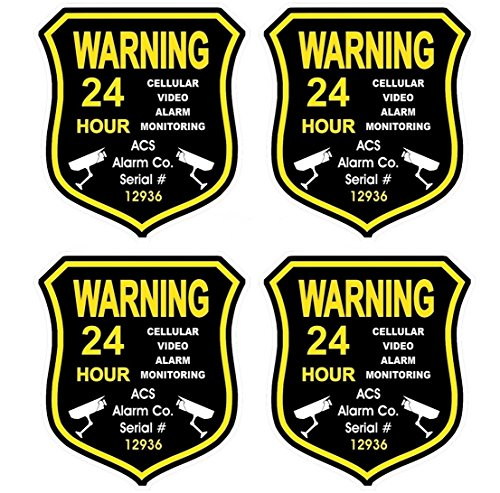 4 Pc Sublime Popular Gps Warning Security Alarm Sticker Sign Being Watched Truck Rv Boat Decals Size 3 5  X 4
