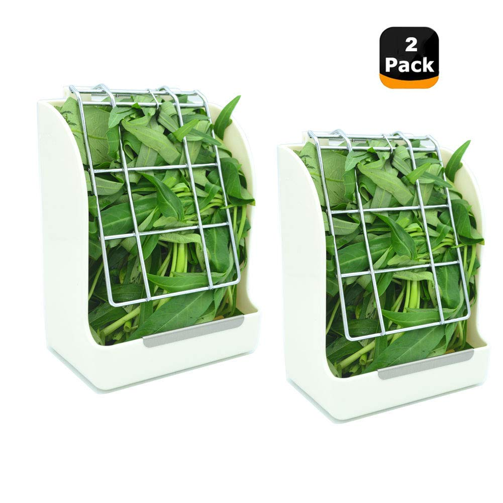 WYOK Hay Feeder/Rack Less Wasted Hay - Ideal for Rabbits/Guinea Pigs/Chinchillas/Hamsters - Keeps Grasses Clean and Fresh (White, 2 Pack)