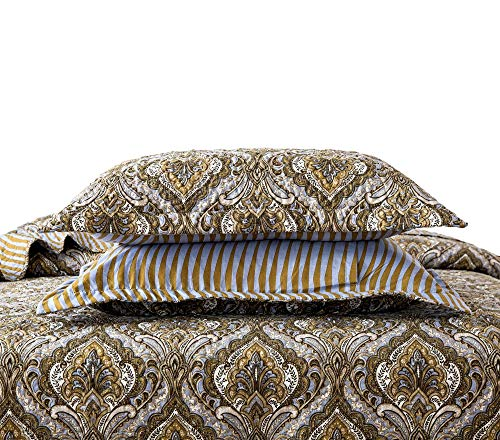 Tache Bohemian Spades Moroccan Neutral Olive Green Blue - Traditional Style Paisley Floral Damask Matelassé Pillow Sham - 2 Pieces - 20x30