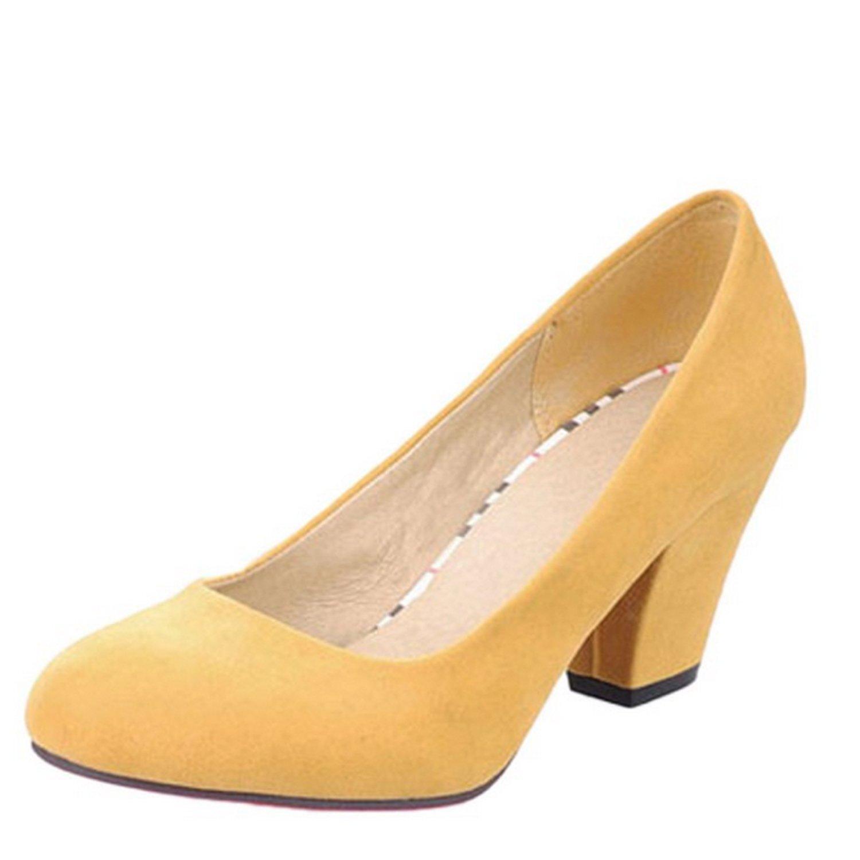 Nonbrand Damen Karriere Pumpen Block Heels Low Mid Ferse Zählen Schuhe, Gelb - Gelb - Größe: 39