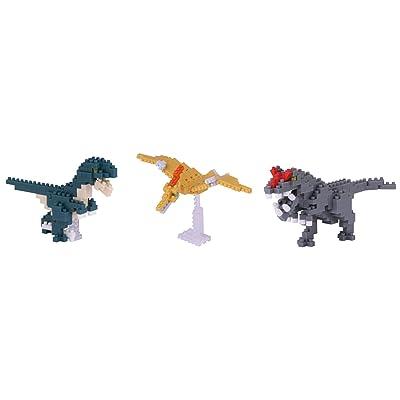 Nanoblock Jurassic Dinosaurs (3 Pack) Velociraptor, Allosaurus, and Pteranodon Building Kit: Toys & Games