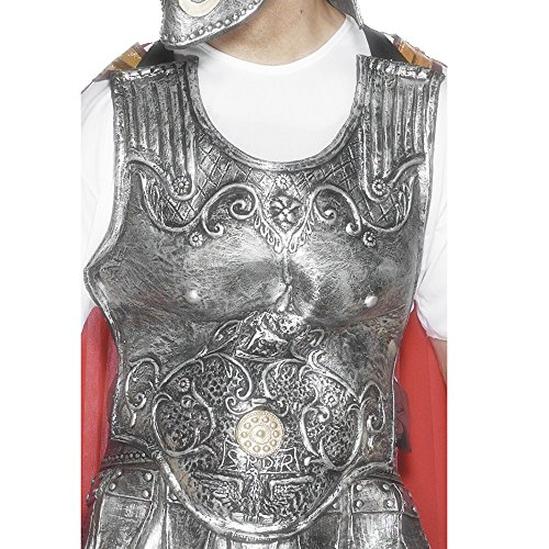Smiffys Men's Roman Armour Breastplate, Silver, Latex, One Size, 25324 ()